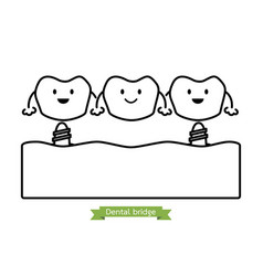 Dental bridge - cartoon outline style vector