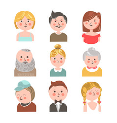 Different aged people faces vector