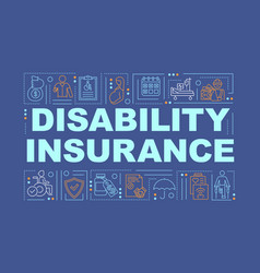 Disability insurance word concepts banner vector