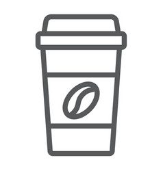 Disposable coffee cup line icon coffee and cafe vector