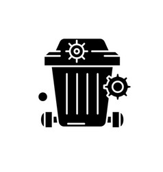 dustbin black icon concept sign on vector image