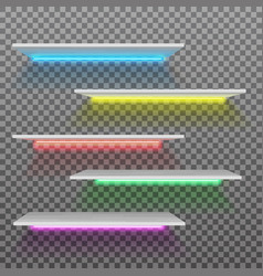 Empty white plastic shelf with neon lamps vector