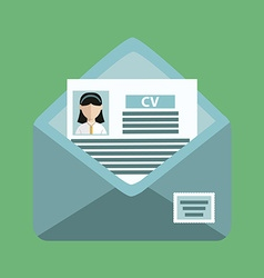 envelope with a cv on the green background vector image vector image