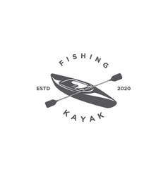 fishing kayak silhouette vector image