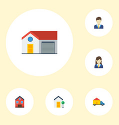 Flat icons property broker truck and other vector