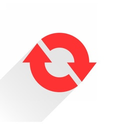 Flat red arrow icon reset repeat sign on white vector