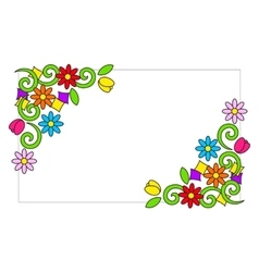 Frame with colorful flowers vector
