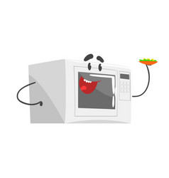 funny microwave character with smiling face vector image