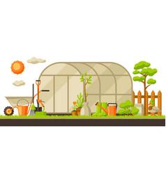 Garden landscape with plants vector