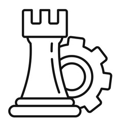 Gear logic icon outline style vector