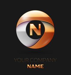Golden letter n logo in the golden-silver circle vector