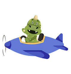 Green dragon is driving a plane vector