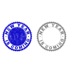 grunge new year is coming textured stamp seals vector image