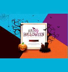 Halloween sale banner with pumpkin vector