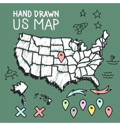 Hand drawn US map on chalkboard vector