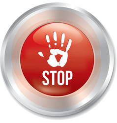 Hand stop button Age limit red round sticker vector image