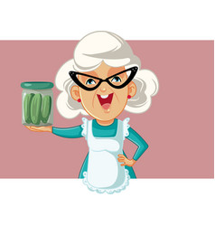 Happy grandmother holding a jar pickles vector