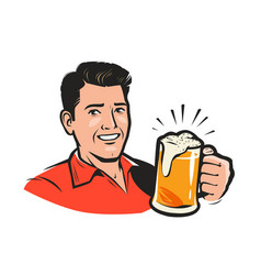happy man with a beer cartoon vector image