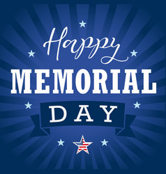 Happy memorial day usa star ribbon stripes vector