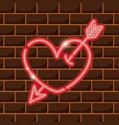 Heart with arrow neon sign icon decoration vector