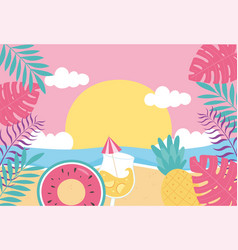 hello summer tropical leaves foliage sea beach vector image