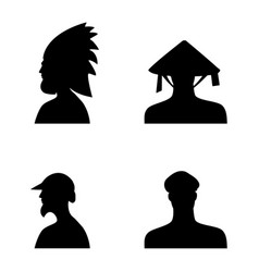 human head silhouettes in different hats set 5 vector image