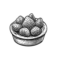 Ink sketch fruit tart with fresh strawberry vector