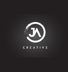 Ja circular letter logo with circle brush design vector