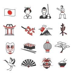Japan Red Black Icons Set vector image