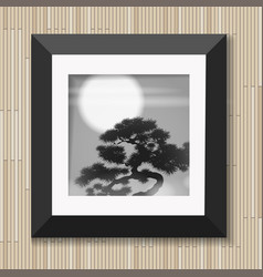 Japanese painting graphic art in frame with pine vector