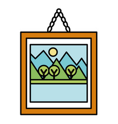 landscape painting isolated icon vector image