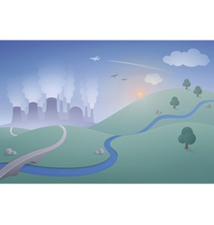 Landscape with Power Plant vector image