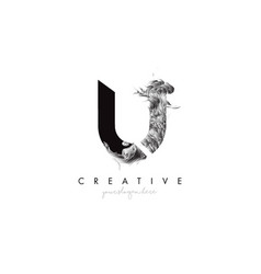 Letter u logo design icon with artistic grunge vector