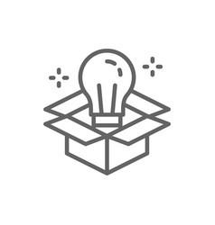 light bulb in box innovation creative idea line vector image