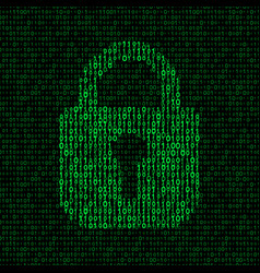 locked padlock on binary code background vector image