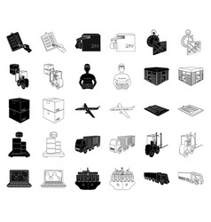 logistics and delivery blackoutline icons in set vector image