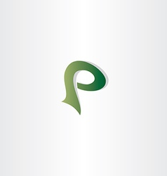 Logotype p letter p logo icon green symbol vector