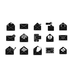 mail icon set simple style vector image
