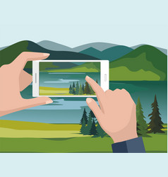 Man taking photos of nature landscape vector