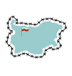 Map Of Bulgaria Map of States with barbed wire vector image