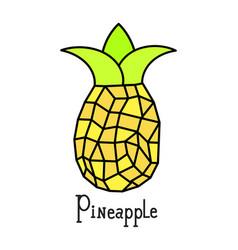 mature pineapple yellow on white vector image
