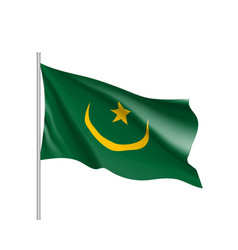 Mauritania realistic flag vector