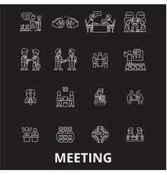 meeting editable line icons set on black vector image