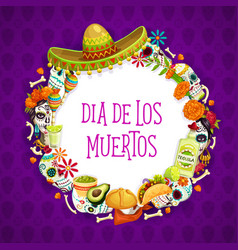 Mexican day dead signs lettering and frame vector
