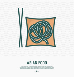 noodles on plate with chopsticks thin line icon vector image