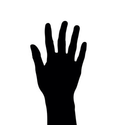 Number 5 or five hand gesture silhouette vector