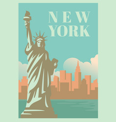 Nyc and statue of liberty with skyscrapers vector