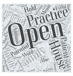 Open House Benefits in Family Practice Word Cloud vector
