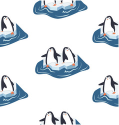 penguins on a piece of iceberg pattern vector image
