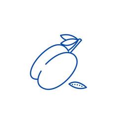 plum line icon concept plum flat symbol vector image